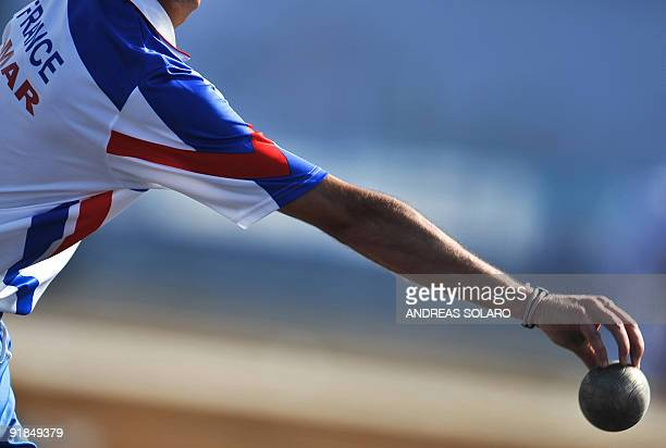 French player Fabien Amar competes against Slovenian player Ales Borcnik during the Progressive throw men final competition at the 2009 XVI...