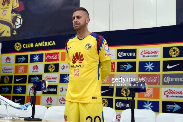 French player Jeremy Menez new player of America poses after a press conference at the Azteca stadium in Mexico City on January 26 2018 Mexican...