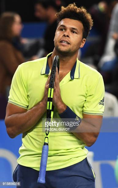 French player JoWilfried Tsonga reacts after winning against French player Nicolas Mahut during the Open Sud de France ATP World Tour tennis match in...