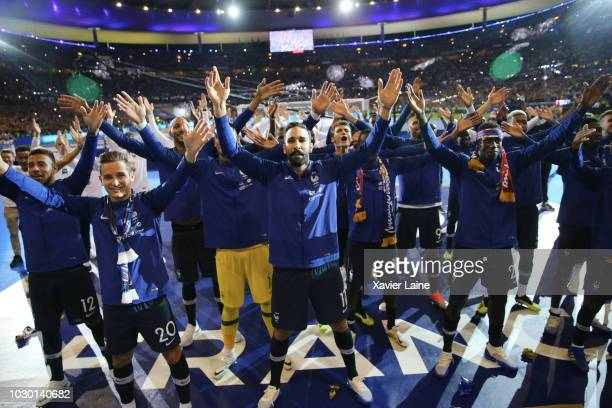 French player parading with the FIFA World Cup won on July 15 2018 in MoscowRussia in front of their fans after the UEFA Nations League A group one...