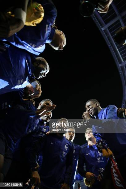 French player siging with the FIFA World Cup won on July 15 2018 in MoscowRussia in front of their fans after the UEFA Nations League A group one...