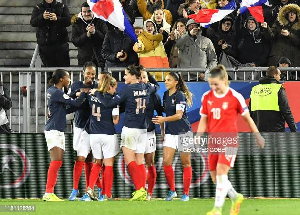 French players celebrate after scoring during the UEFA women's Euro 2021 qualifying match between France and Serbia on November 9 2019 at the Matmut...