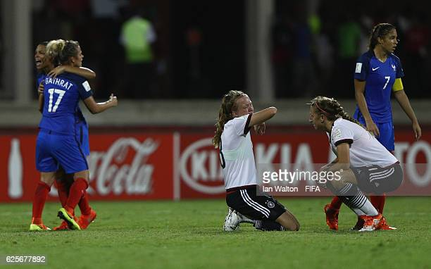 French players celebrate after winning the FIFA U20 Women's World Cup Quarter Final match between Germany and France at Sir John Guise Stadium on...