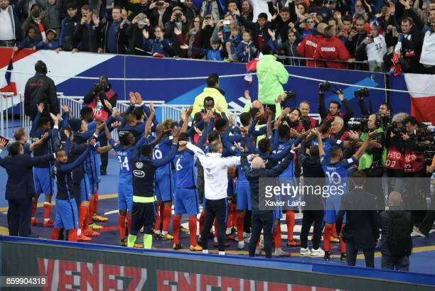 French players celebrate the qualification for FIFA world cup Russia 2018 with a claping cession with French fan after the FIFA 2018 World Cup...