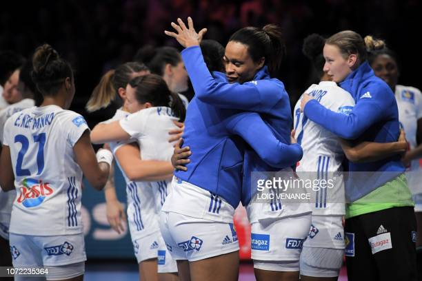 French players celebrate their victory after during the Women Euro 2018 handball Championships Group 1 main round match between Serbia and France, at...