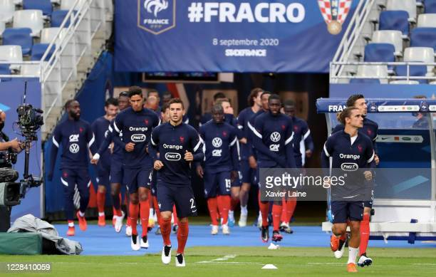 French players enter the field during the UEFA Nations League group stage match between France and Croatia at Stade de France on September 8 2020 in...