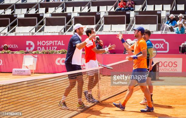 French players Jeremy Chardy and Fabrice Martin against British's players Jonny O'Mara and Luke Bambridge during the Millennium Estoril Open on 5 May...