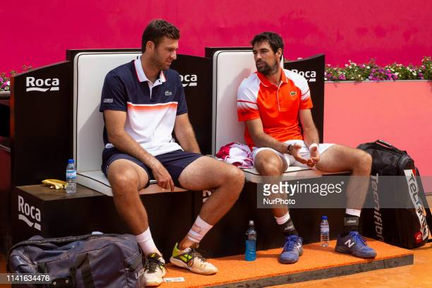 French players Jeremy Chardy and Fabrice Martin during their tennis match against British's players Jonny O'Mara and Luke Bambridge during the...