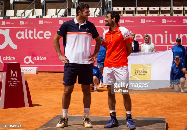 French players Jeremy Chardy and Fabrice Martin pose after their won against British's players Jonny O'Mara and Luke Bambridge the Millennium Estoril...