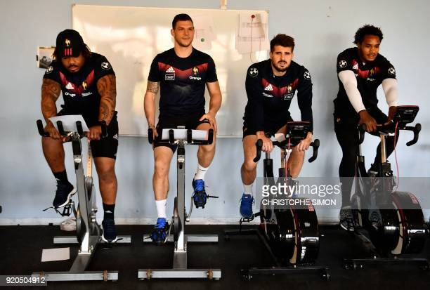 French players of the French national rugby union team Mathieu Bastareaud Remy Grosso Hugo Bonneval and Benjamin Fall on February 19 2018 at the...