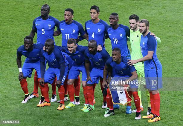 French players pose before the International Friendly games between France and Russia at Stade de France on March 29 2016 in Paris France