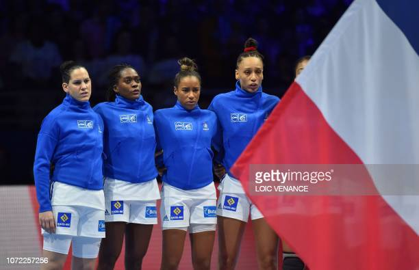French players sing the French national Anthem prior to the Women Euro 2018 handball Championships Group 1 main round match between Serbia and...
