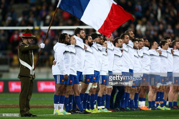 French players sing the national anthem during the International Test match between the New Zealand All Blacks and France at Westpac Stadium on June...