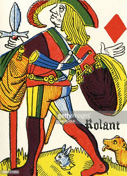 French playing card featuring the jack / knave as huntsman with a dog and a rabbit