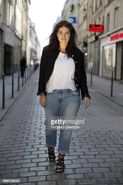 French plus-size model Clementine Desseaux poses in Paris on April 9, 2015. Clementine Desseaux is the patron of the third Pulp Fashion Week Paris, a...