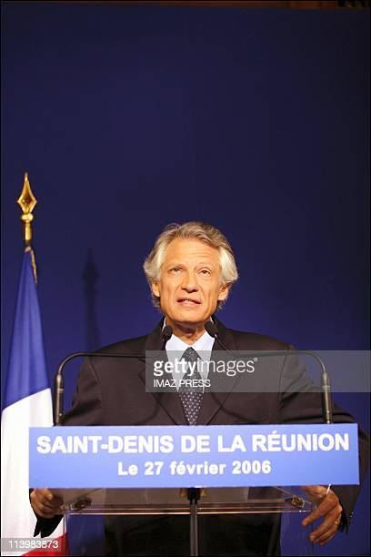 French PM Dominique de Villepin on an official visit to Reunion Island in Saint Denis, France on February 27, 2006-Press Conference hold by French PM...