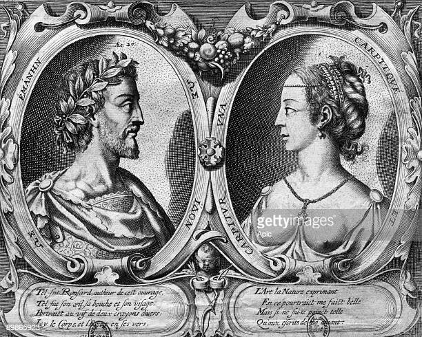 French poet Pierre de Ronsard and Cassandre Salviati engraving for 1552 edition of 'Amours'