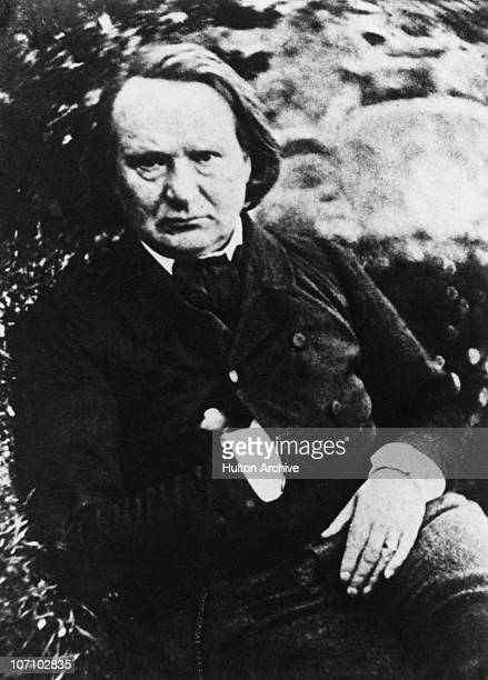 French poet playwright and novelist Victor Hugo during his exile in Belgium circa 1852