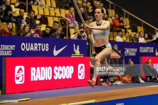 French pole vaulter Ninon Guillon-Romarin runs to clear 4.73m during the All Star Perche at the Maison des Sports in Clermont Ferrand, central France...