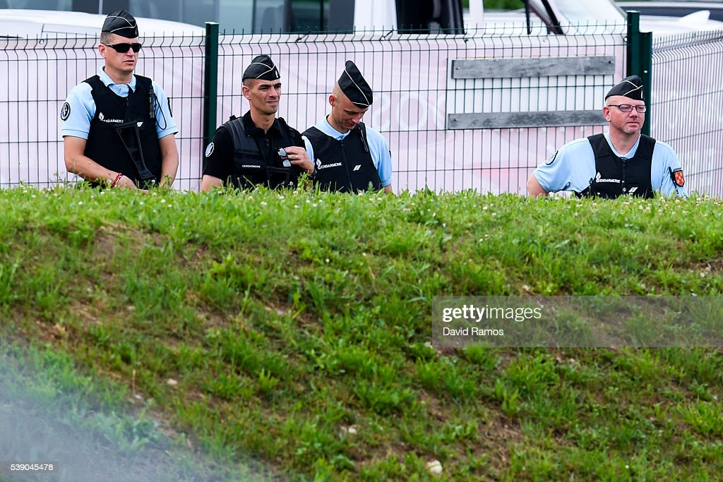 French police officers stand guard during a training session on June 9, 2016 in La Rochelle, France.