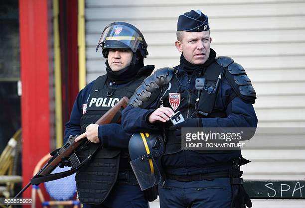 French police patrol near the Rue de la Goutte d'Or in the north of Paris on January 7 after police shot a man dead as he was trying to enter a...