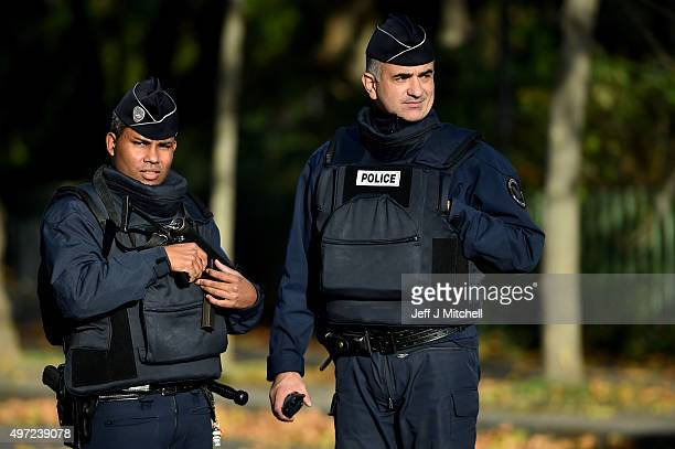 French police stand guard at the Bataclan Theatre following Fridays terrorist attack on November 15 2015 in Paris France As France observes three...