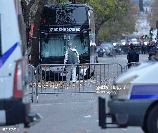 French police takes heavy security measures around Bataclan concert hall and La Belle Equipe restaurant in 11th district of Paris France on November...