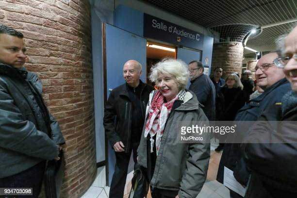 French political activist Olivia Zemor accompanied by Former French bishop Jacques Gaillot waits in the court of Versailles near Paris on March 19...
