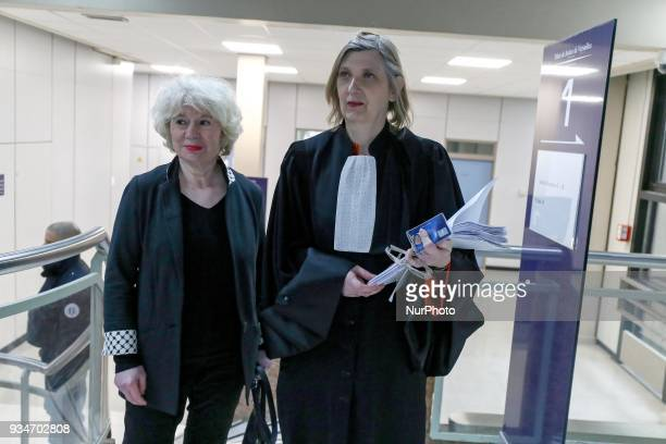 French political activist Olivia Zemor accompanied by his lawyer waits in the court of Versailles near Paris on March 19 2018 O Zemor is the...