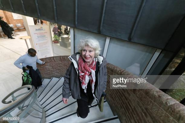 French political activist Olivia Zemor goes into the court of Versailles near Paris on March 19 2018 O Zemor is the cofounder and leader of CAPJO the...