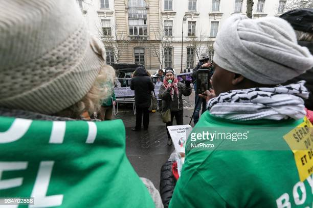 French political activist Olivia Zemor speaks during a demonstration on March 19 in front of the court of Versailles near Paris Zemor is the...