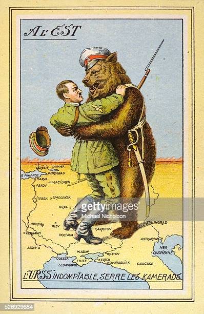 A French political cartoon critiquing the MolotovRibbentrop Pact Hitler and the Russian Bear are wrestling over a map of Russia and the Crimea