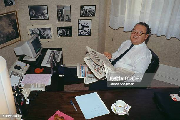 French political journalist Gérard Carreyrou at his desk at TF1