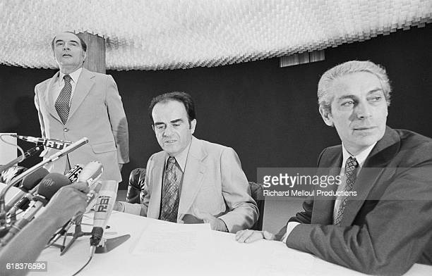 French political leaders Francois Mitterrand of the Parti Socialiste George Marchais of the Parti Communiste Francais and Robert Fabre of the Parti...