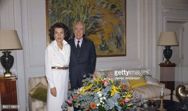 French politician and Academic Andre Bettencourt and his wife French L'Oreal heiress socialite businesswoman and philanthropist Liliane Bettencourt...