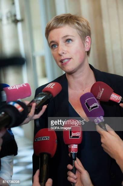 French politician and feminist Clementine Autain seen being interviewed by the media