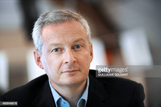 French politician and member of the rightwing opposition Les Republicains party Bruno Le Maire is pictured following his visit to the Maison...