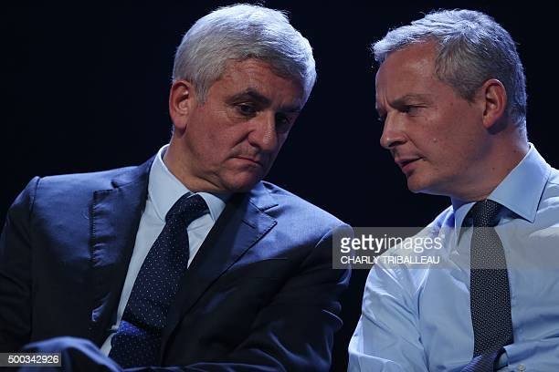 French politician and member of the right-wing opposition Les Republicains party, Bruno Le Maire attends the campaign meeting of top candidate for...