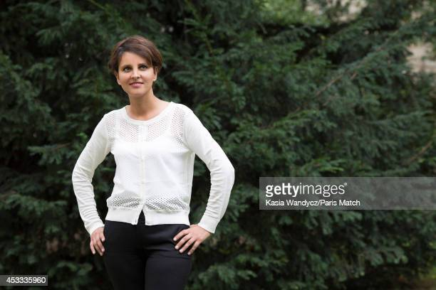 French politician and Minister of Women's Rights city youth and sport Najat VallaudBelkacem is photographed for Paris Match on August 1 2014 in Paris...