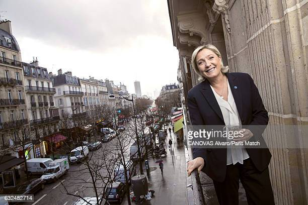 French politician and president of the National Front Marine Le Pen is photographed at campaign headquarters on Rue du Faubourg SaintHonore for Paris...