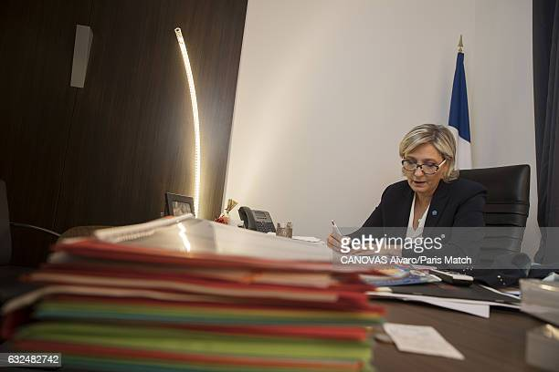 French politician and president of the National Front Marine Le Pen is photographed at campaign headquarters on Rue du Faubourg SaintHonoré for Paris...