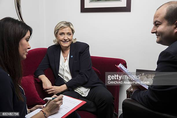 French politician and president of the National Front Marine Le Pen is photographed with her campaign director David Rachline for Paris Match on...
