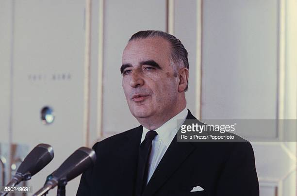 French politician and Prime Minister of France Georges Pompidou pictured at a press conference in France in 1967