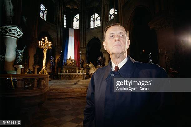 French politician and retired admiral Philippe de Gaulle attends a mass at Notre Dame de Paris to celebrate the 50th Anniversary of the Appeal of 18...
