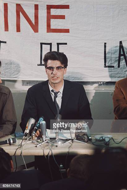 French politician and Revolutionary Communist League candidate in the upcoming Presidential elections Alain Krivine pictured at a press conference in...