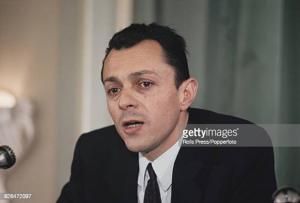 French politician and Unified Socialist Party candidate in the upcoming Presidential elections Michel Rocard pictured at a press conference in Paris...
