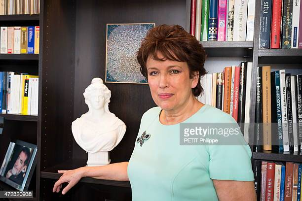 French politician and writer Roselyne Bachelot poses at home on April 22 2015 in Paris France