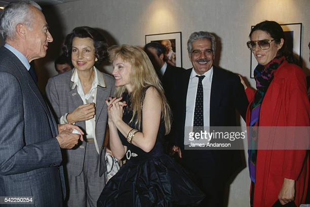 French politician André Bettencourt his wife L'Oreal heiress socialite businesswoman and philanthropist Liliane Bettencourt their daughter Françoise...