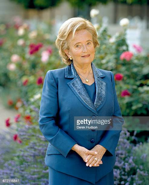 French politician Bernadette Chirac wife of President Jacques Chirac in the garden of the Elysée Palace Paris 15th July 2005