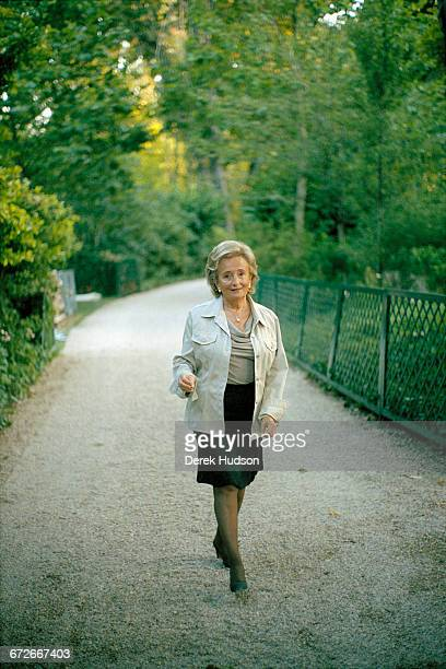 French politician Bernadette Chirac wife of President Jacques Chirac takes the photographer Derek Hudson on a guided tour of the Elysée Palace...